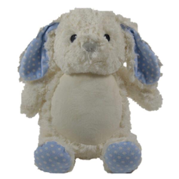 Louis - lapin blanc à pois bleu peluche à broder et personnaliser - Boutique | Broderie Amé Design