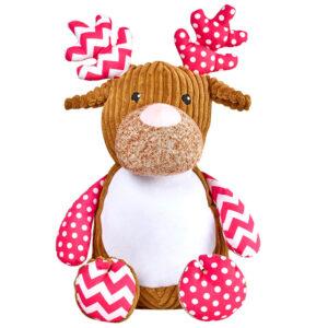 Charlie - cerf, cheveuil à motifs roses peluche à broder et personnaliser - Boutique | Broderie Amé Design