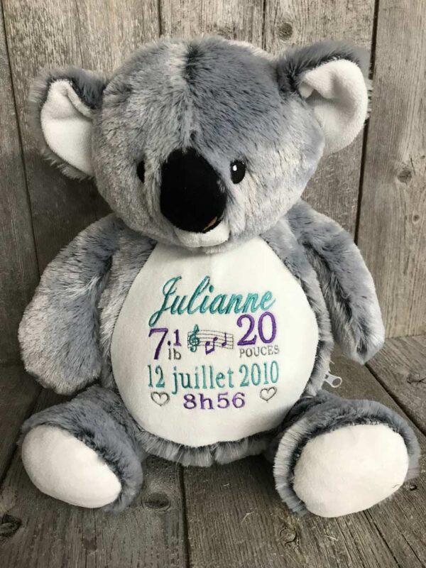 Cochlé - koala peluche à broder et personnaliser - Réalisation   Broderie Amé Design