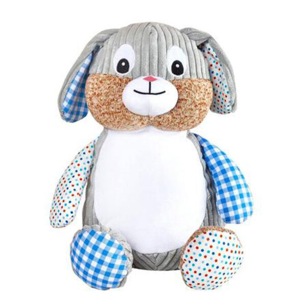 Coco - lapin gris à motifs bleus peluche à broder et personnaliser - Boutique   Broderie Amé Design