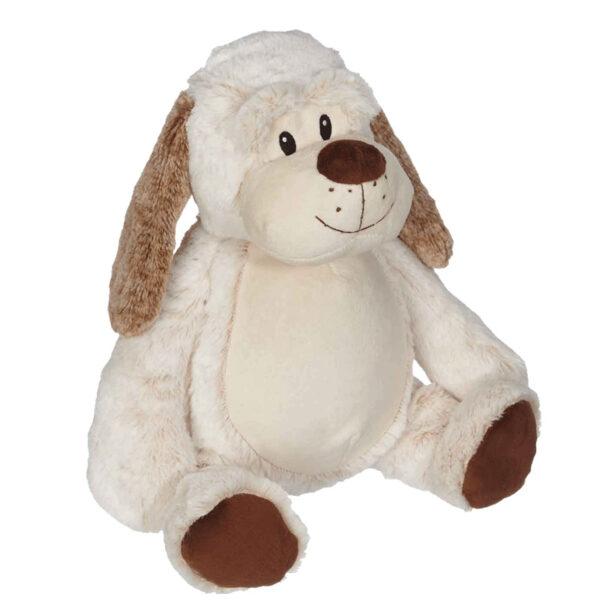 Dingo - chien blanc oreilles brunes peluche à broder et personnaliser - Boutique | Broderie Amé Design
