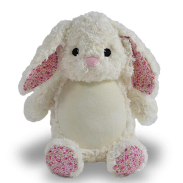 Lili - lapin blanc avec fleurs roses peluche à broder et personnaliser - Boutique | Broderie Amé Design