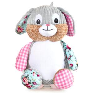Lola - lapin à motif rose et turquoise peluche à broder et personnaliser - Boutique | Broderie Amé Design