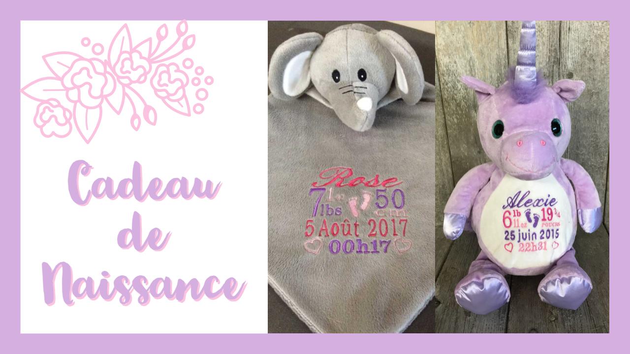 cadeau naissance: doudou éléphant et licorne mauve brodés et personnalisés - Broderie Amé Design