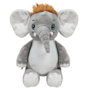 Boum Boum - éléphant gris avec cheveux peluche à broder et personnaliser - Boutique | Broderie Amé Design