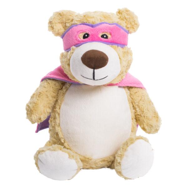 Super-Bisou - ourson super-héro cape rose peluche à broder et personnaliser - Boutique | Broderie Amé Design