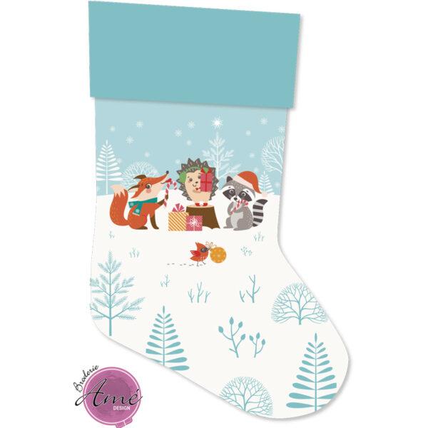 Bas de Noël à broder et personnaliser - Animaux de la forêt | Broderie Amé Design