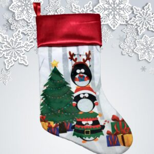 Bas de Noël à broder et personnaliser - pingouin | Broderie Amé Design
