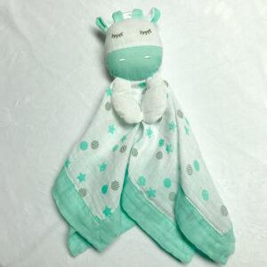 Doudou en mousseline - Girafe vert menthe | Doudou à broder et personnaliser | Broderie Amé Design