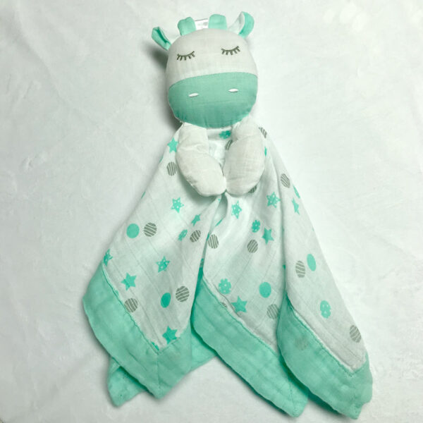 Doudou en mousseline - Girafe vert menthe   Doudou à broder et personnaliser   Broderie Amé Design