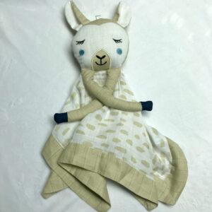 Doudou en mousseline - Lama beige | Doudou à broder et personnaliser | Broderie Amé Design