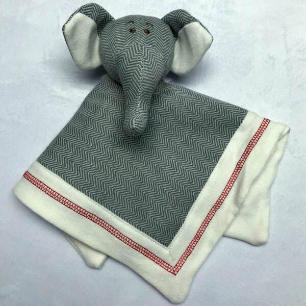 Doudou éléphant - Style lainage gris | Doudou à broder et personnaliser | Broderie Amé Design