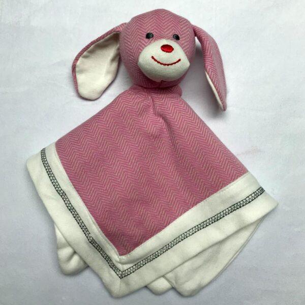 Doudou lapin - Style lainage rose | Doudou à broder et personnaliser | Broderie Amé Design