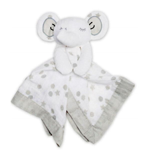 Doudou en mousseline - Éléphant blanc   Doudou à broder et personnaliser   Broderie Amé Design