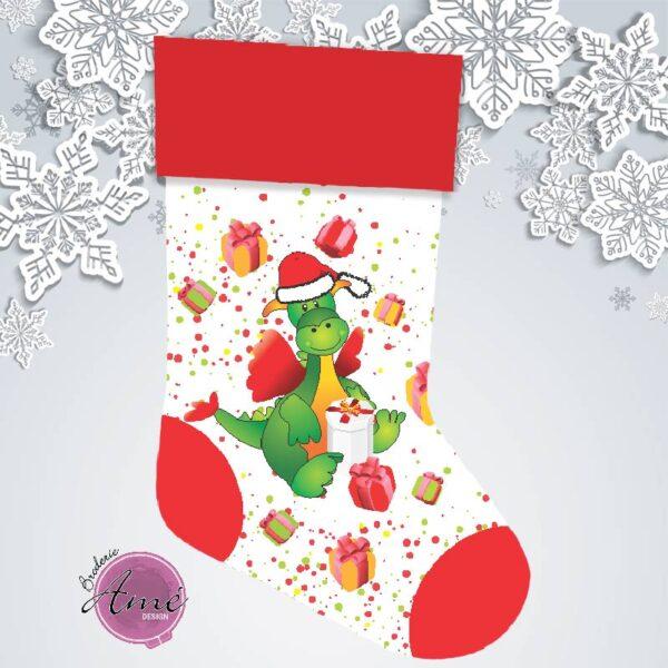 Bas de Noël en minky exclusif - Dragon   Broderie Amé Design