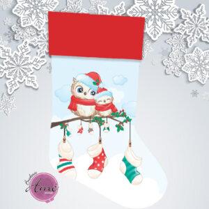 Bas de Noël en minky exclusif - Hiboux | Broderie Amé Design