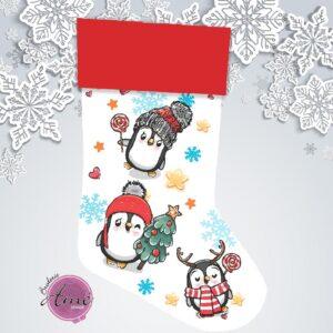Bas de Noël en minky exclusif - Pingouins | Broderie Amé Design